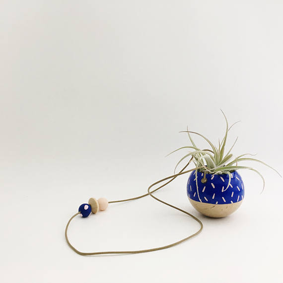 Mini Hanging Sphere Planter- Cobalt/Natural w/Pink Confetti