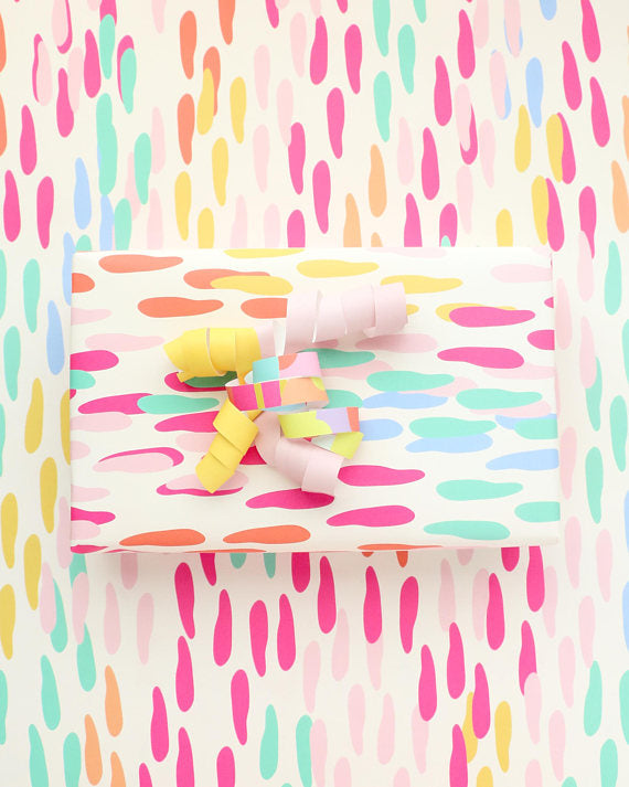 Rainbow Confetti Dots Wrapping Paper Sheets - WATERBURY