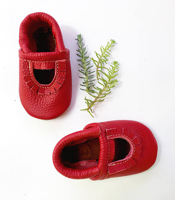 Cherry Red Mary Jane Moccs Soft Soled Leather Shoes Baby and Toddler