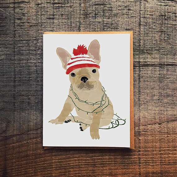 Holiday French Bull Dog Greeting Card