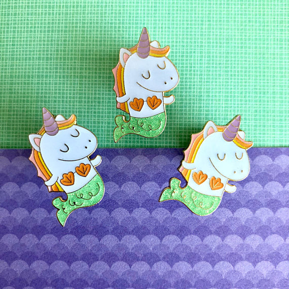 Mernicorn Mermaid Unicorn  Green Glitter Pin