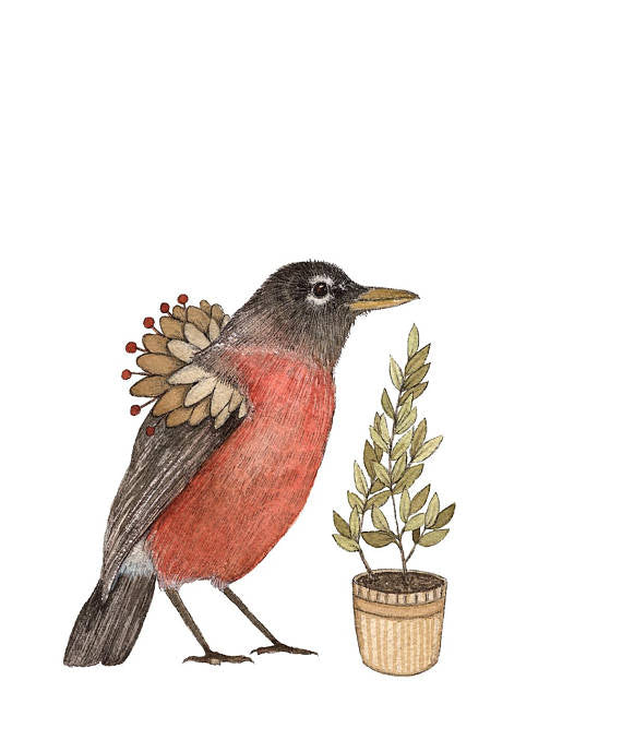 Critters and Plants: Robin - Art Print