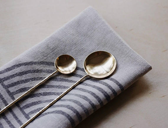 Brass Coffee and Salt Spoon Set