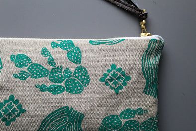 Green Cactus Linen Pouch- Large