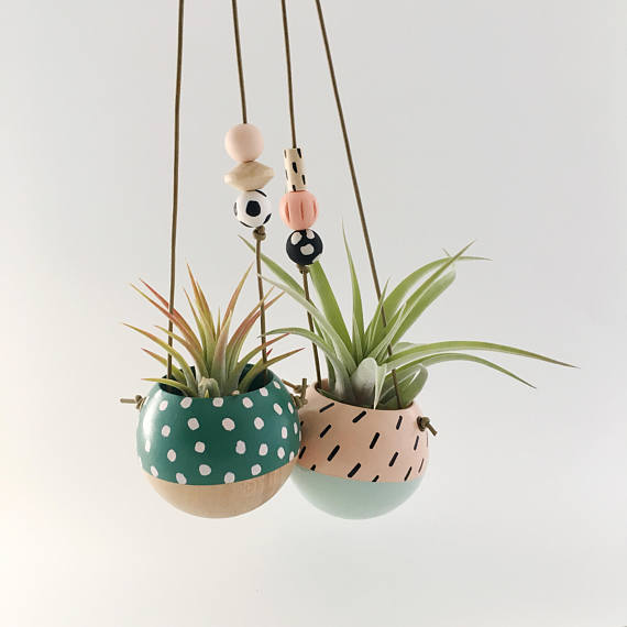 Mini Hanging Sphere Planter- Jade/Natural w/Blush Dots