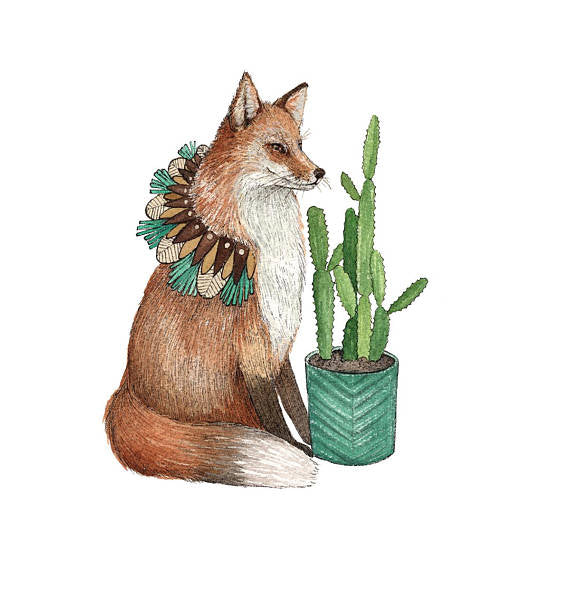 Critters and Plants: Fox - Art Print