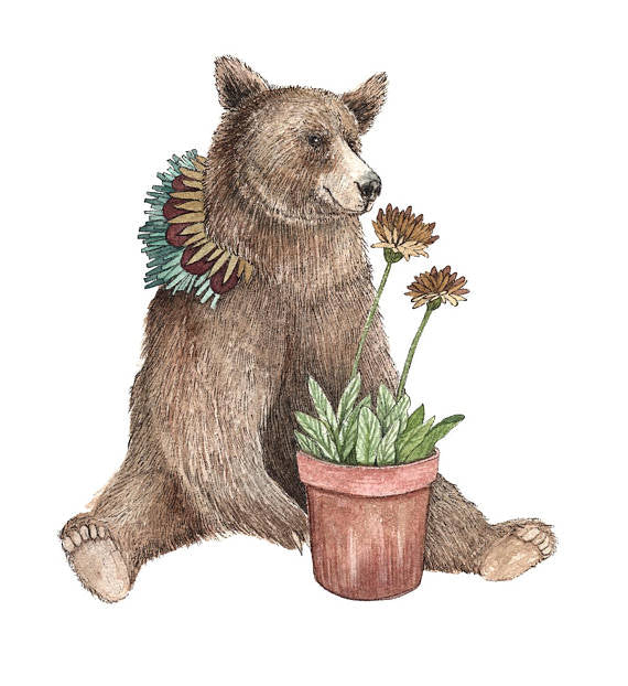 Critters and Plants: Bear 5x7 Art Print
