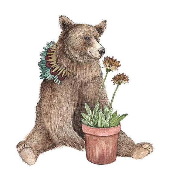 Critters and Plants: Bear - Art Print