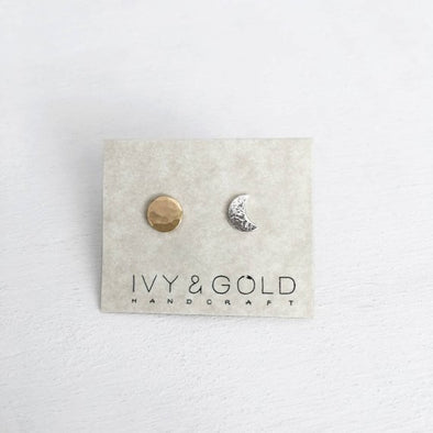 Sun and Moon Studs - Sterling Silver/Gold Fill*