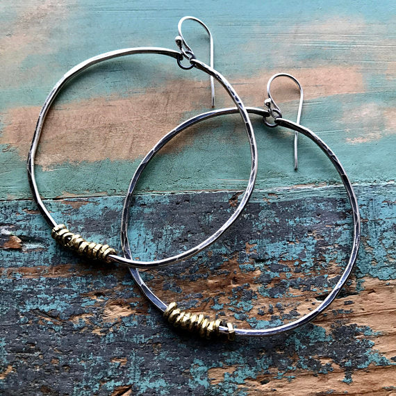 Silver Hoops with Brass Heishi Beads Large