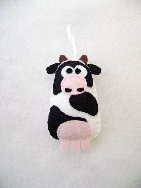 Cow Felt Ornament // By Red Marionette