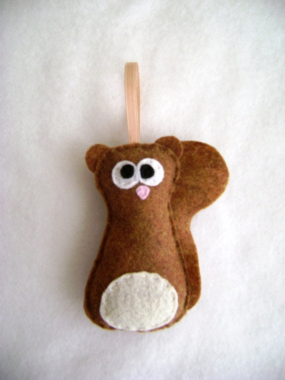 Squirrel Felt Ornament // By Red Marionette