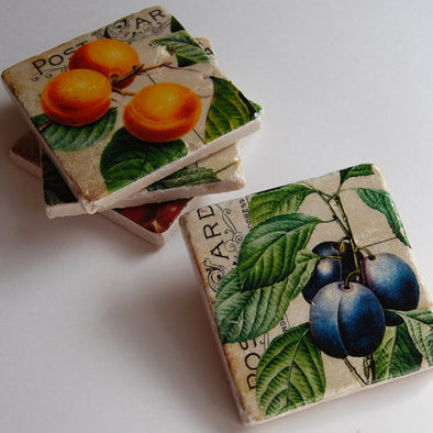 Fruit & Script Coasters // Set of 4
