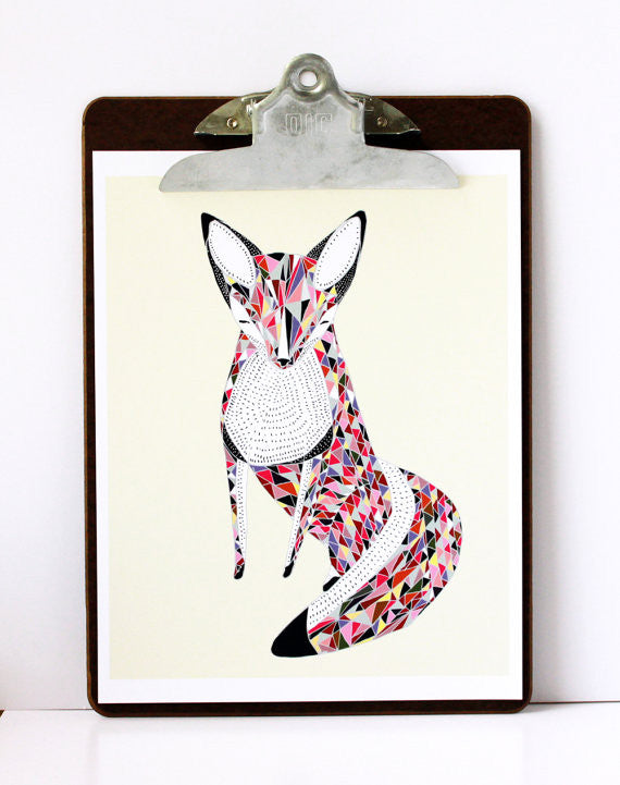 Quilted Fox Illustration 8x10 print