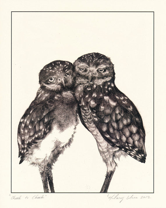 "Cheek to Cheek Burrowing Owls Print 8"" x 10"" // by Hilary Ann Love Glass"