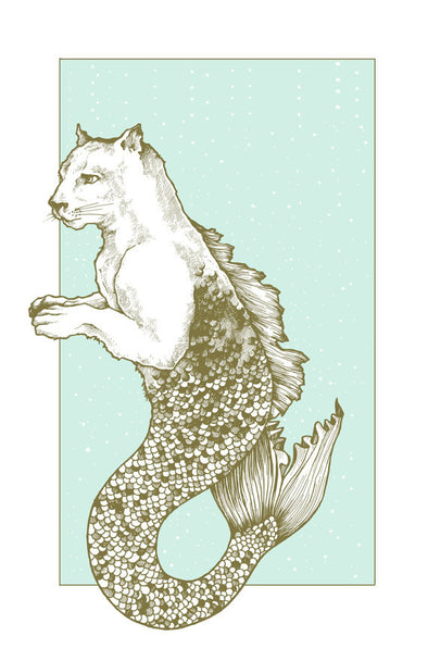 11 x 17 Print: Cougar-Mermaid
