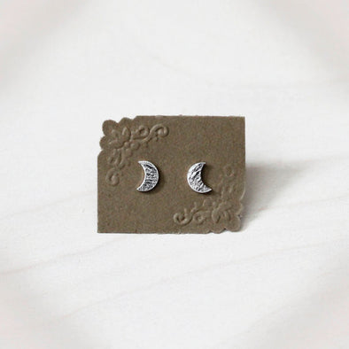 Crescent Moon Earrings - Sterling Silver