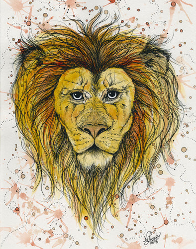 Lion 8x10 Print // by Nikki Laxar Art