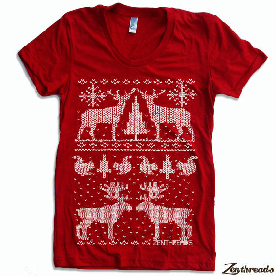Women's Christmas Sweater Print T-Shirt Red