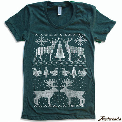 Women's Christmas Sweater Print T-Shirt