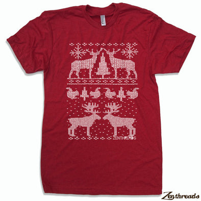 Men's Christmas Sweater Print T-Shirt Red