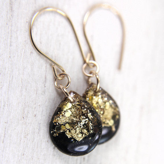 Black and Gold Leaf Teardrop Earrings with Gold Wires // by Tiny Galaxies
