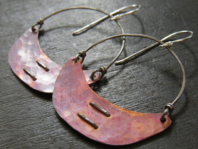 Copper Stitched Crescent Earrings Small