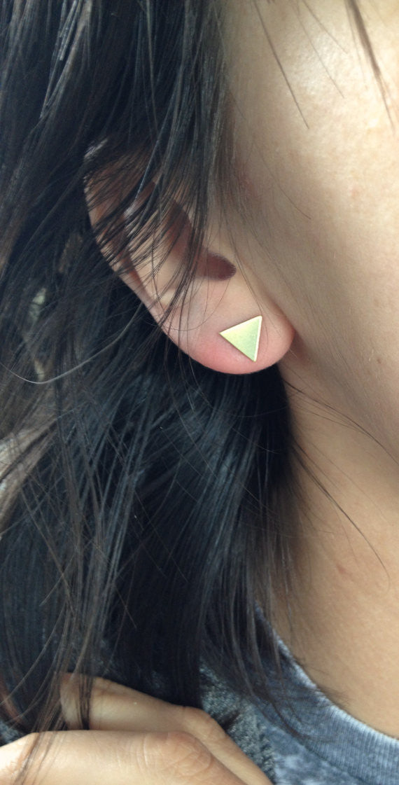 Brass Triangle Studs