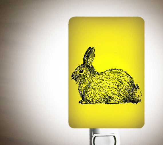 Bunny Rabbit Fused Glass Nightlight for a Nursery or Kids Room - Sweet Baby Bunny