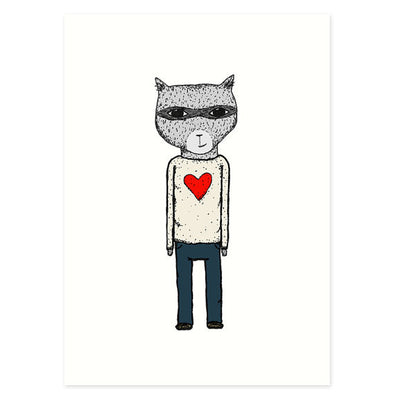 Sweater Raccoon 5x7 Art Print