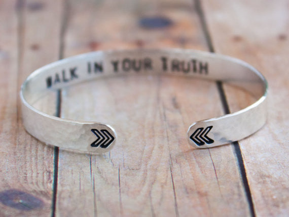 Walk In Your Truth Sterling Silver Cuff Bracelet