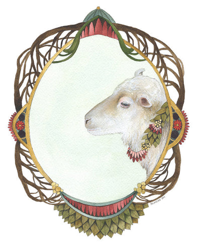 Quilted Portrait: The Sheep - Greeting Card