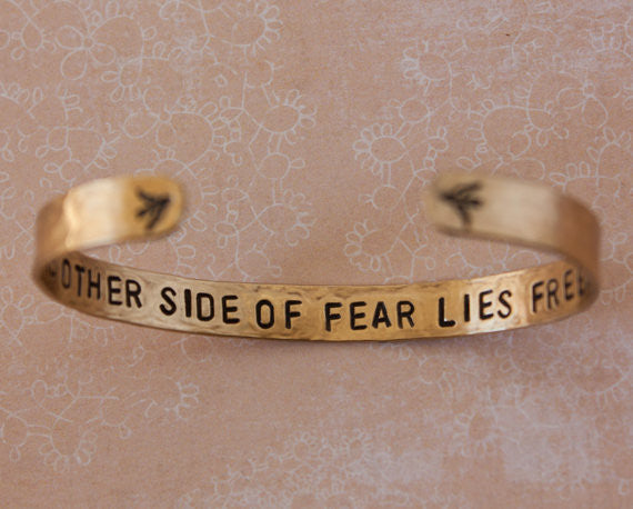 On The Other Side of Fear Lies Freedom Brass Cuff Bracelet