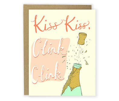 Kiss Kiss Clink Clink Cheers Greeting Card
