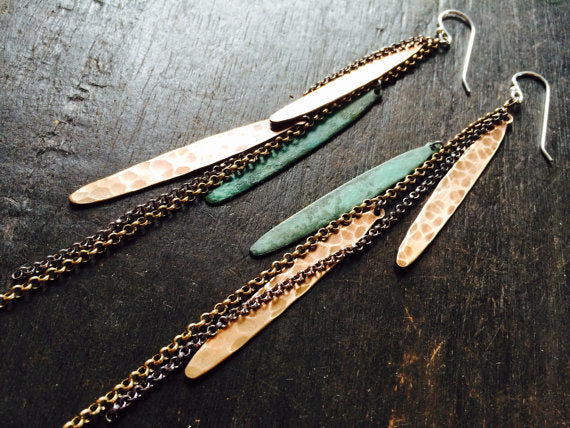 Feather Earrings - Verdigris + Brass