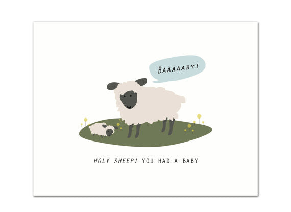 Holy Sheep Baby Greeting Card