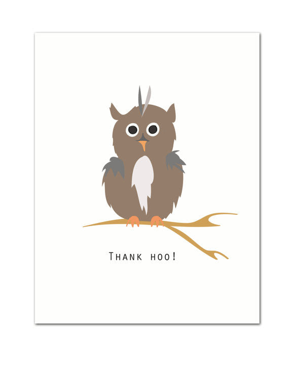 Thank Hoo Thank You Greeting Card