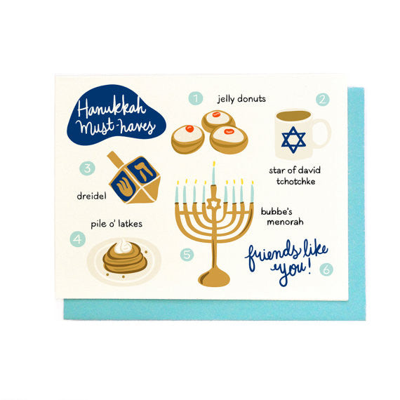 Hanukkah Must-Haves Cards // Set of 6 - WATERBURY