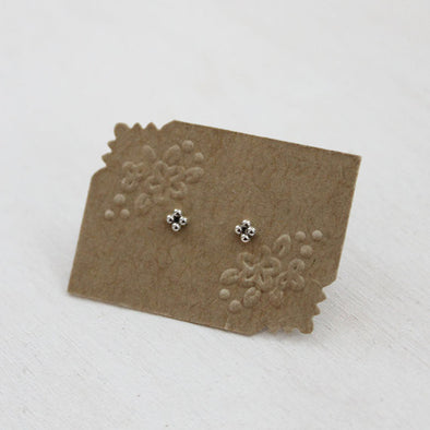 Mini Four Bead Stud Earrings - Sterling Silver