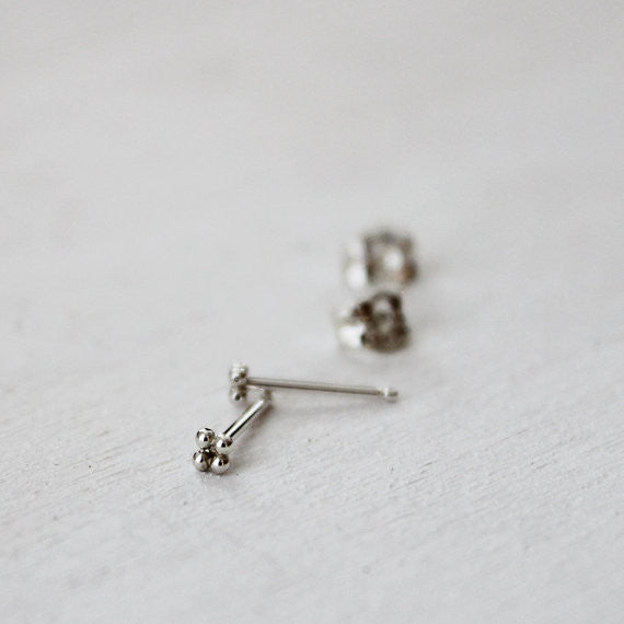 Mini Four Bead Stud Earrings - Sterling Silver*