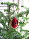 Needle Felted Cardinal in Walnut Heirloom Ornament
