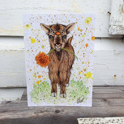 Goat Greeting Card // by Nikki Laxar Art