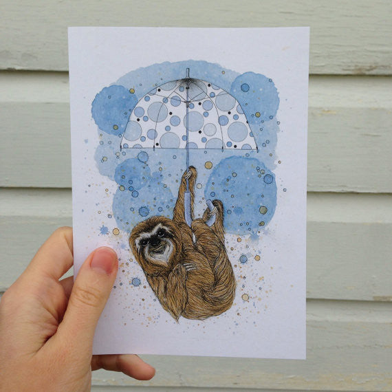 Sloth Greeting Card // by Nikki Laxar Art