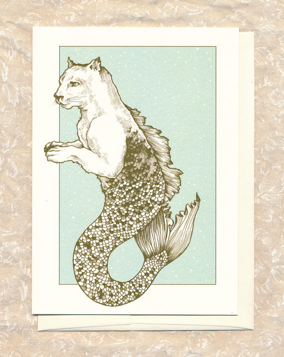 Cougar-Mermaid The Way Home Greeting Card