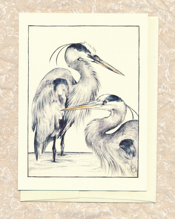 Greeting Card: Blue Herons
