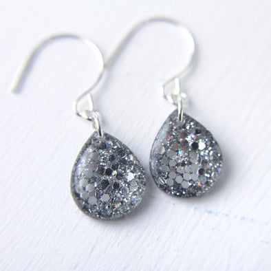 Iridescent Silver Tear Drop Earrings // by Tiny Galaxies