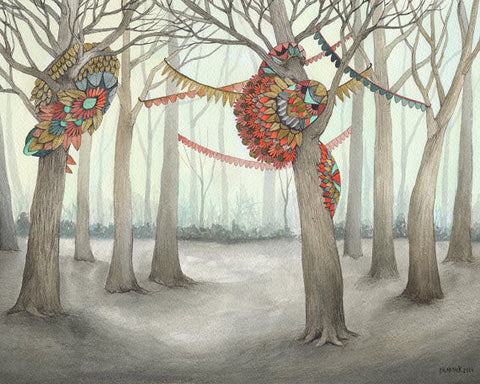In the Quilted Forest IV // 8x10 Art Print // Forest Illustration