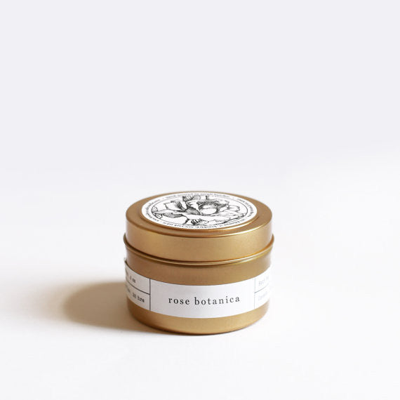 Rose Botanica Gold Tin Travel Candle