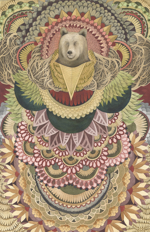 Asleep in the Quilted Forest: The Bear - Art Print