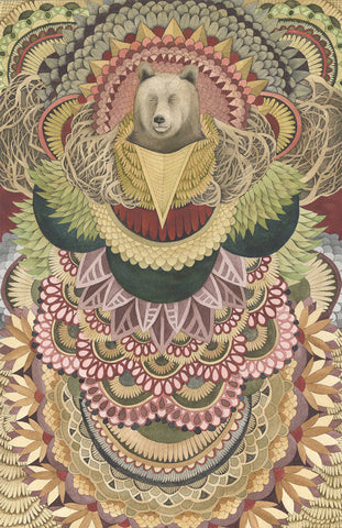 Asleep in the Quilted Forest: The Bear // 8x10 Art Print // Polanshek of the Hills